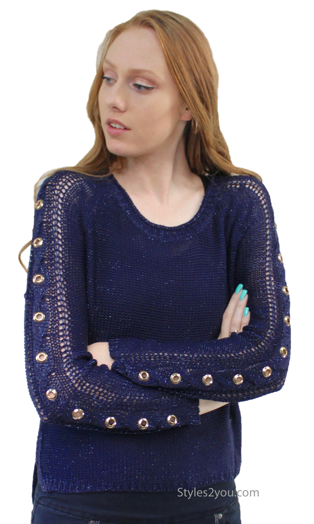 Henley Loose Weave Cable Knit Sweater With Grommets In Navy [A2294 ...