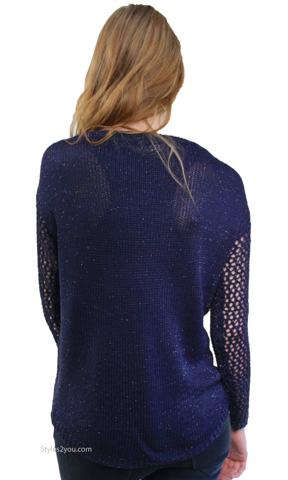 Careen Long Sleeve Loose Weave Cable Knit Sweater In Navy [A2316 ...