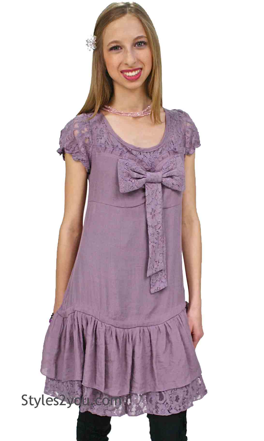 Daisy Modern Vintage Tunic In Purple A Reve Areve Clothing