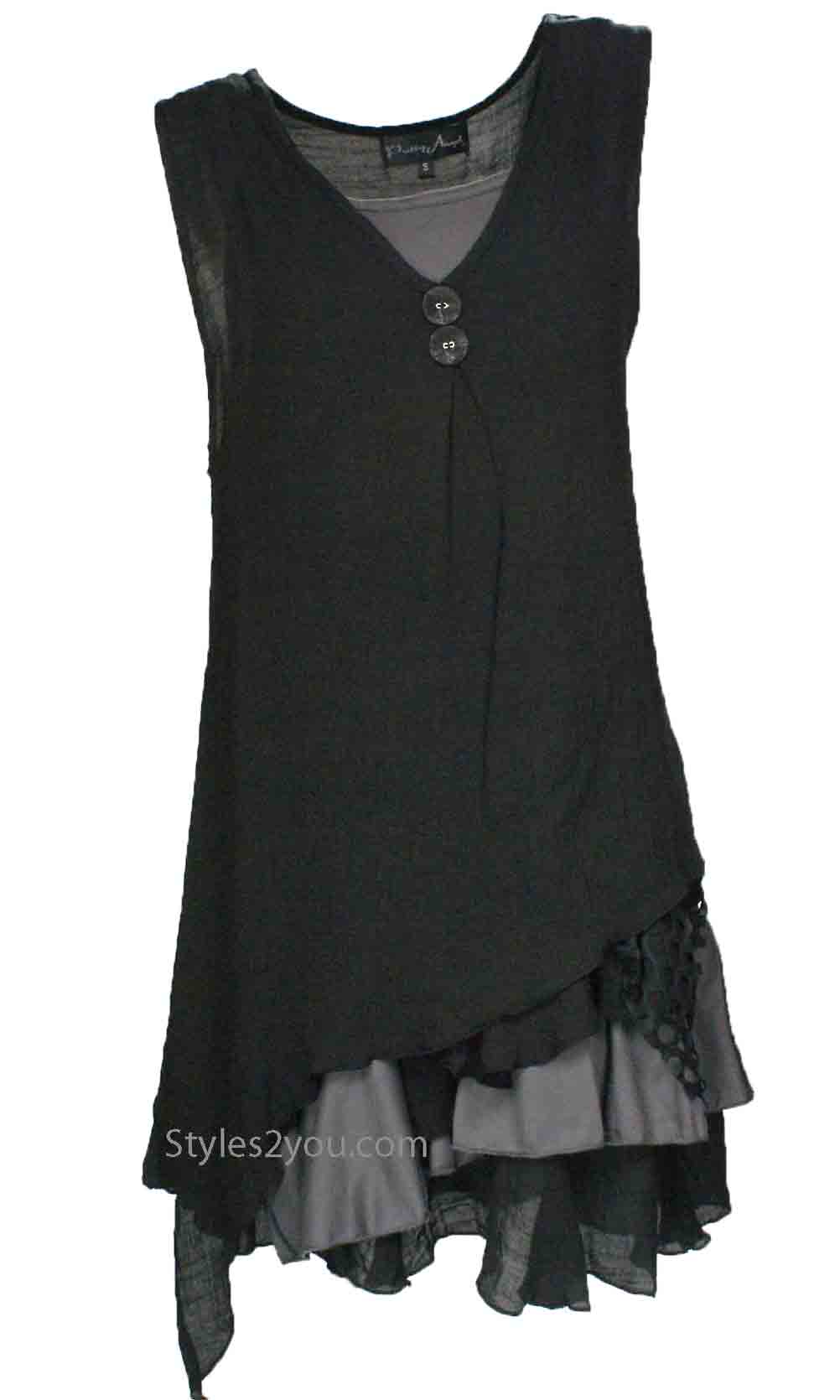 d8616be5288 Colette Ladies Bohemian Retro Two Piece Knit Shirt Dress Black ...