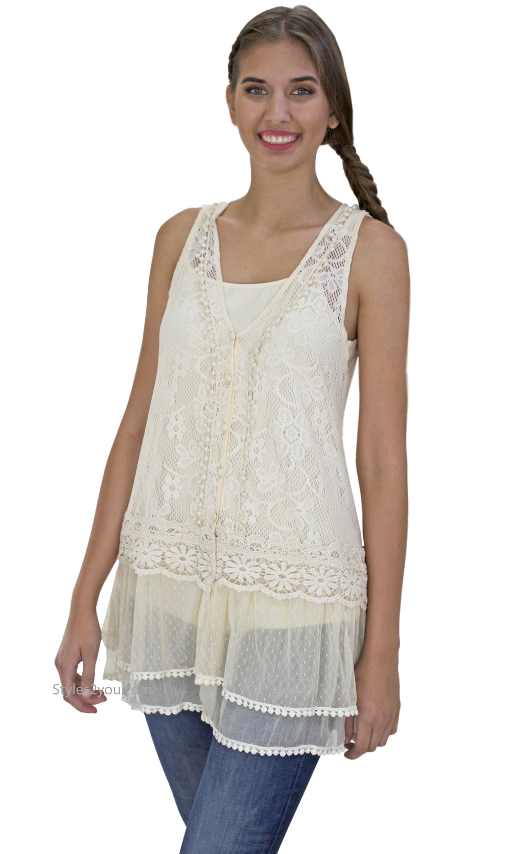 Lady Chantal Vintage Victorian Lace Top, Two Pieces In