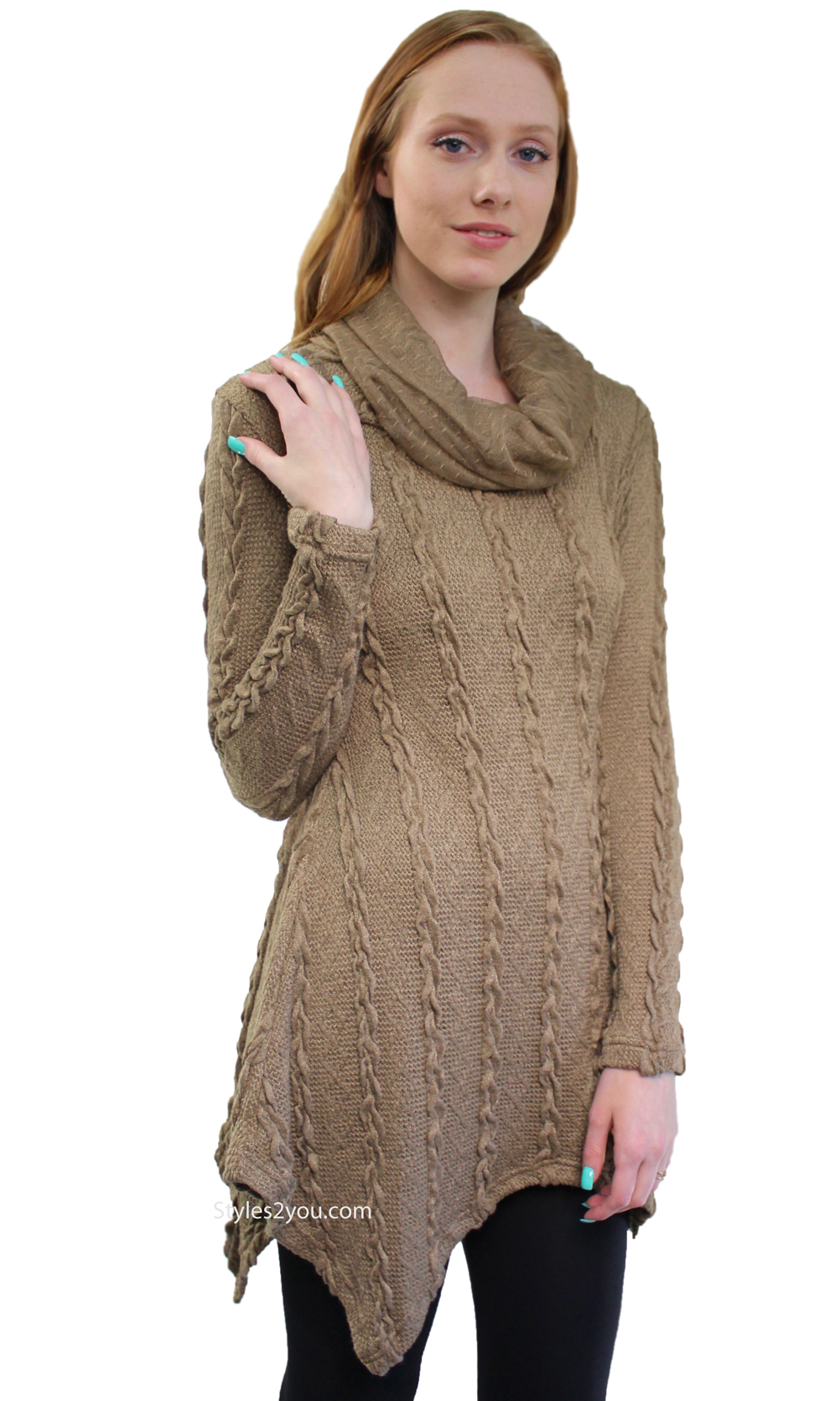 Tegan ladies cable knit sweater shirt dress in brown for Dress shirt with sweater