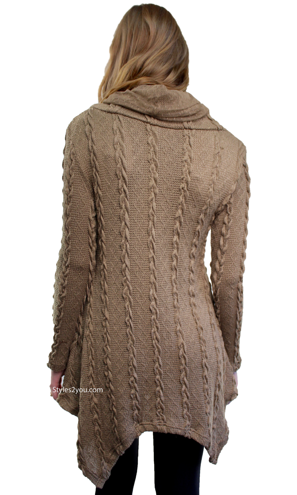 Tegan Ladies Cable Knit Sweater Shirt Dress In Brown [ALKS10962BR ...