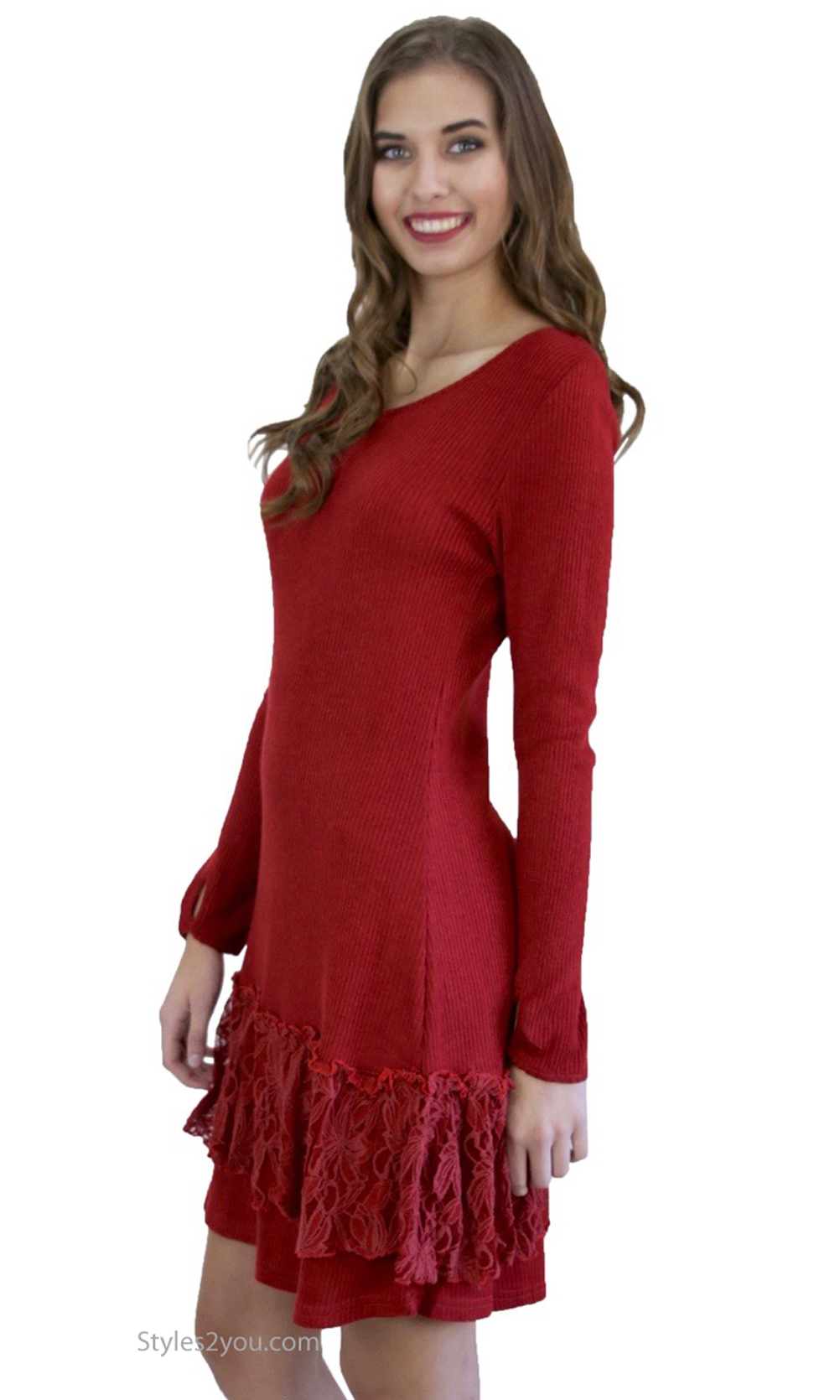 Margaret Sweater Dress Extender With Lace Trim In Dark Red ...