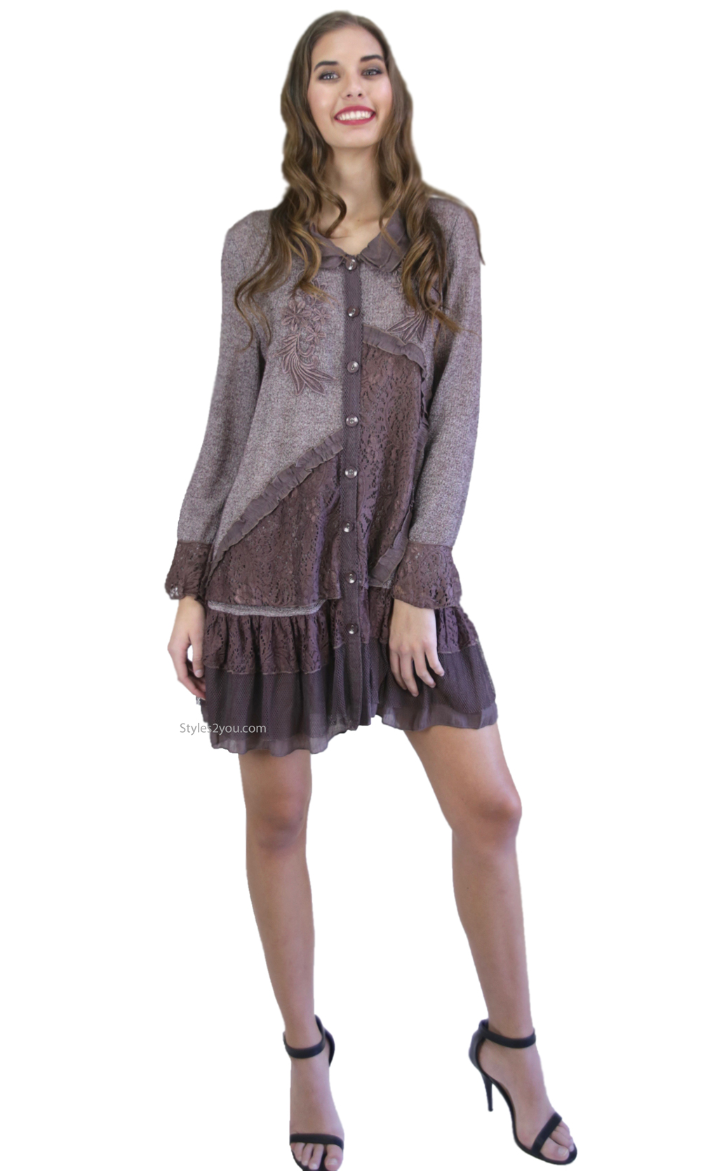 Josephine Ladies Shirt Dress Cardigan With Lace Skirt Brown Top ...