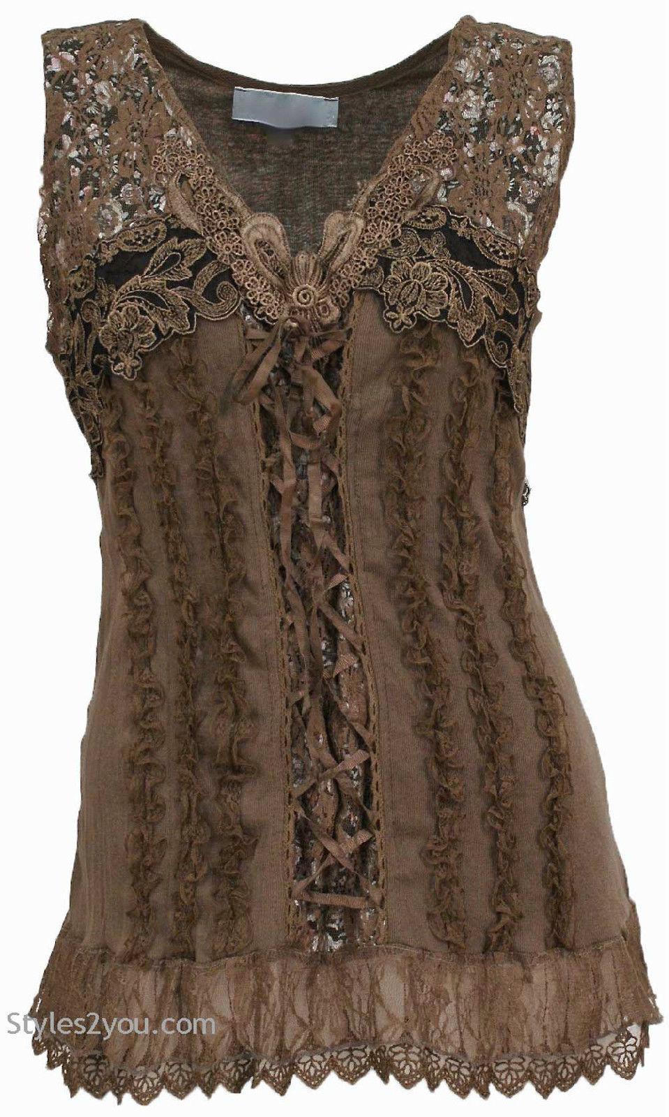 Mercer Womens Vintage Corset Top In Brown ANTS67642BR