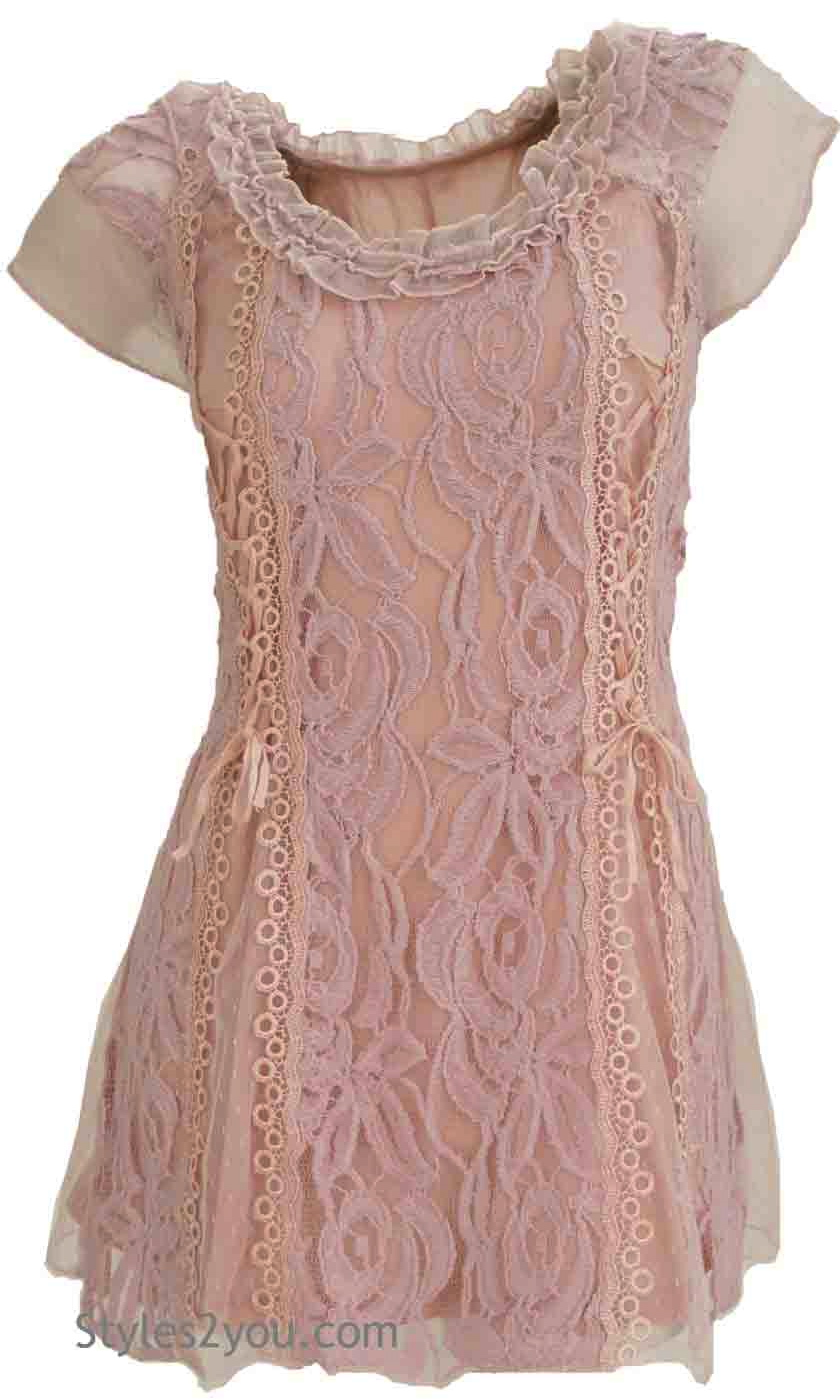 American Vintage Lace Blouse Short Sleeve In Mauve Pretty
