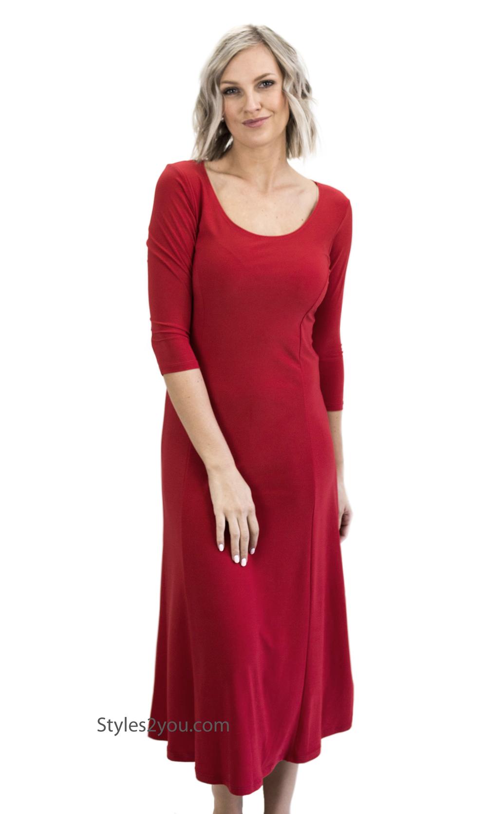 Annabelle Vintage Dye-Red Side Pockets 3//4 Sleeve Scoop Neck Swing Dress