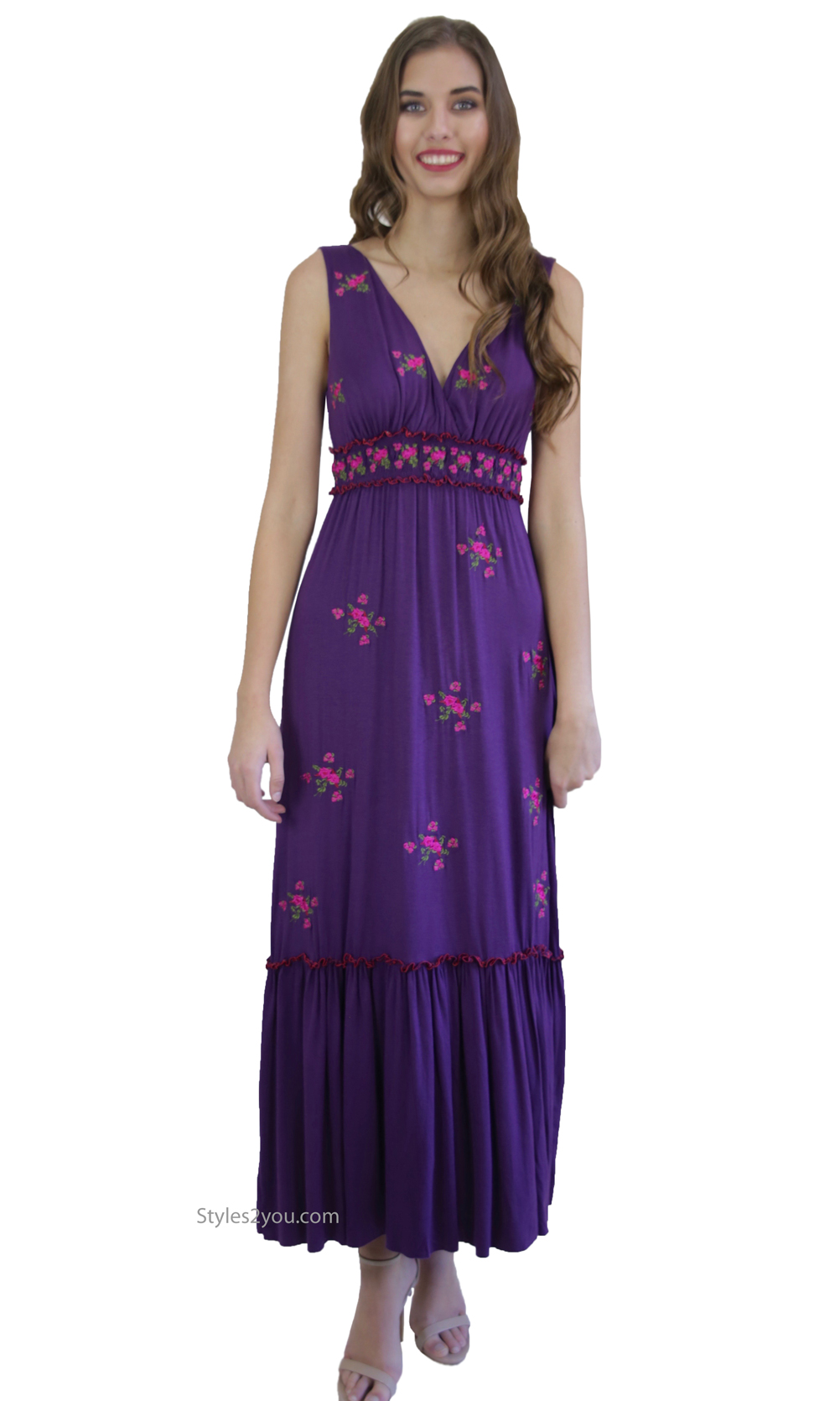 Rosemary Sleeveless Maxi Dress With Embroidered Roses Blue Tassel ...