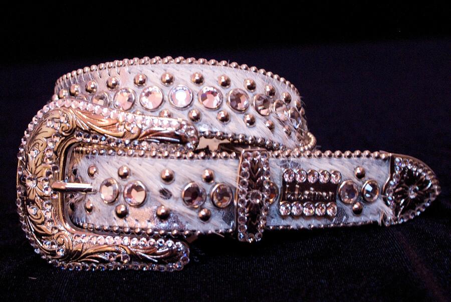 Bb Simon Swarovski Crystal White Leather Belt 1689bbs Bb