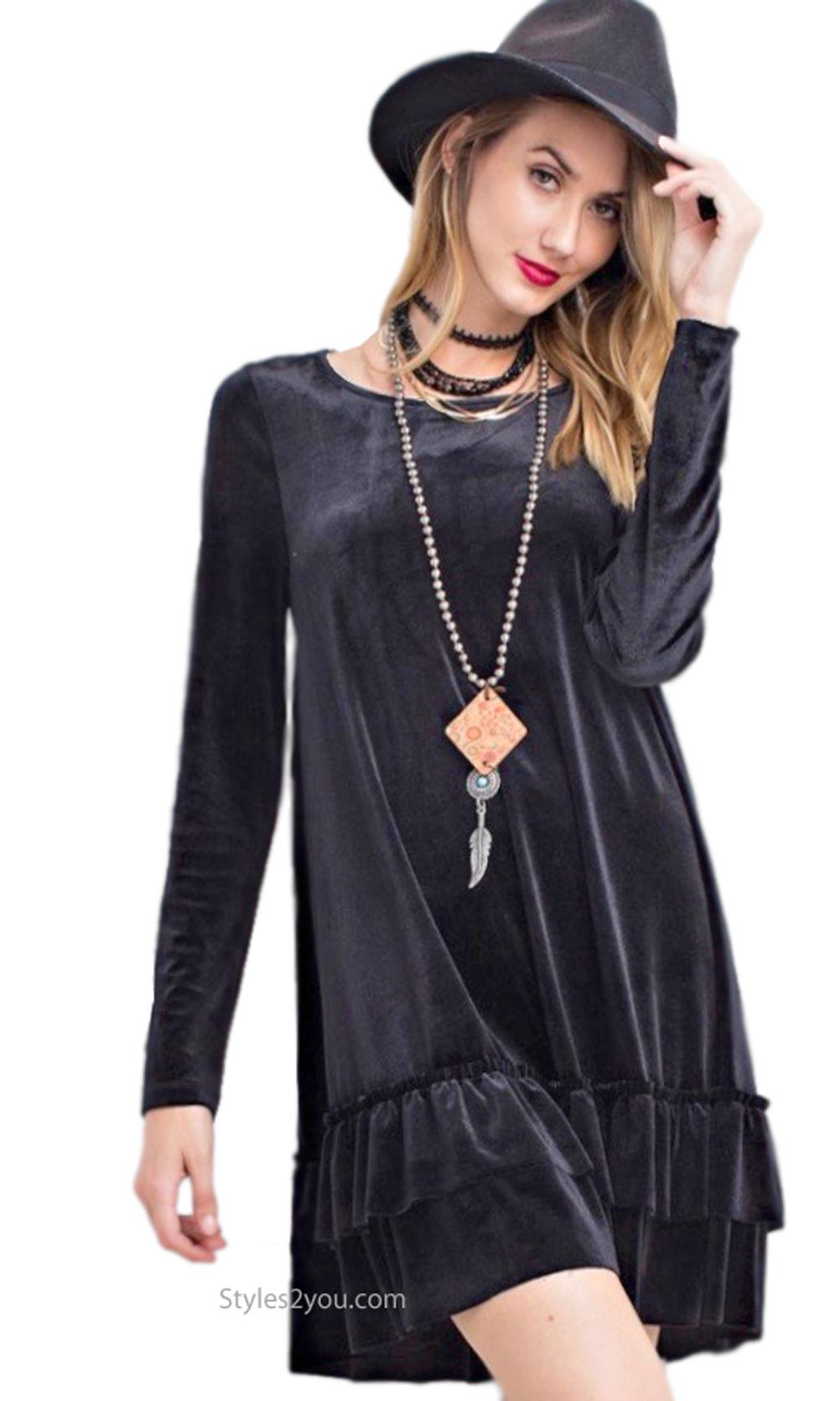 Arie Long Sleeve Velvet Double Ruffle Shirt Dress Black