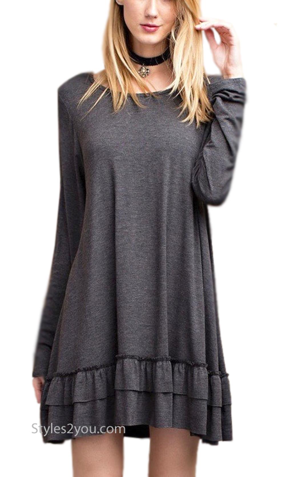 Celian PLUS SIZE Ruffle Shirt Dress Shirt Extender Gray Easel ...