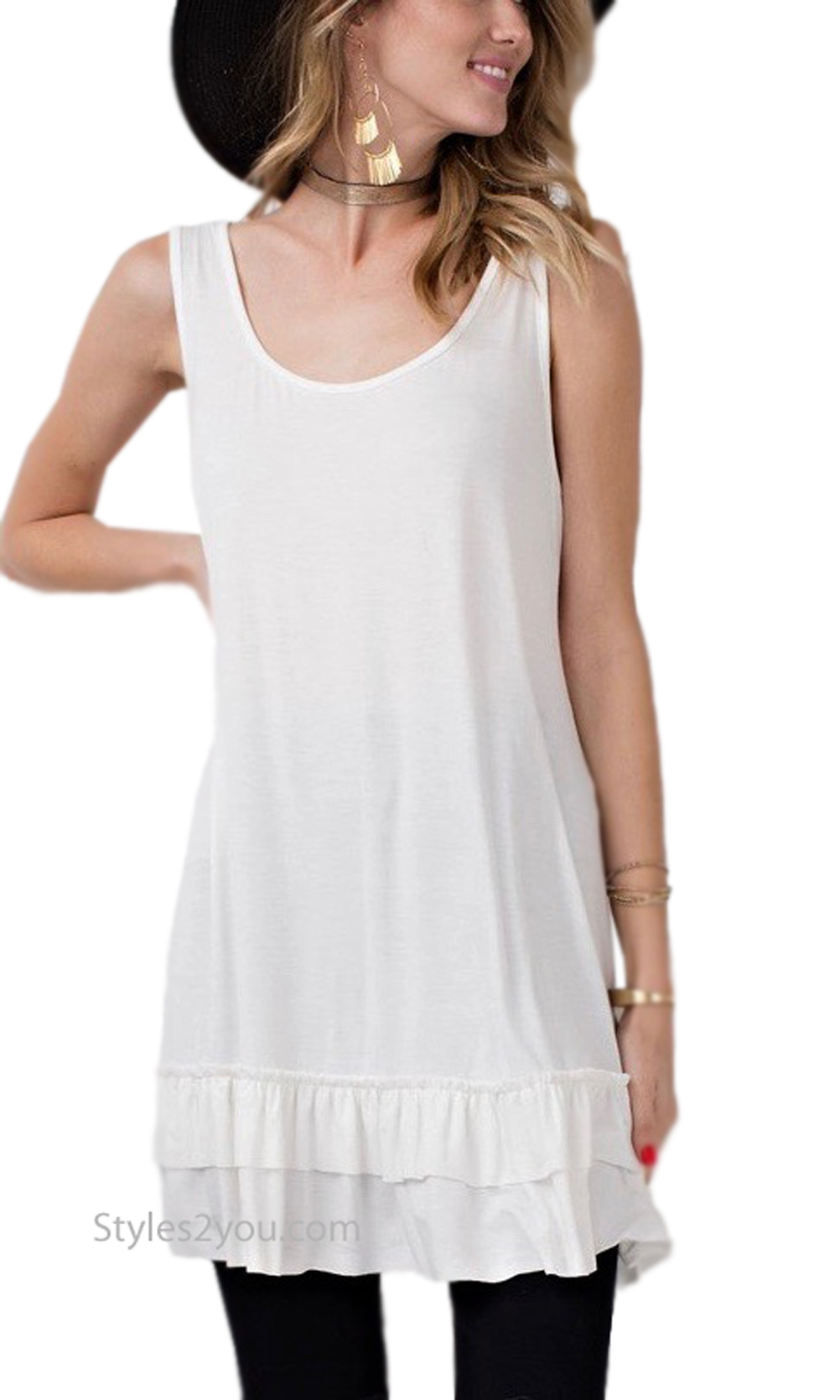 Cruise PLUS SIZE Ladies Ruffle Shirt Dress Extender In Off White ...