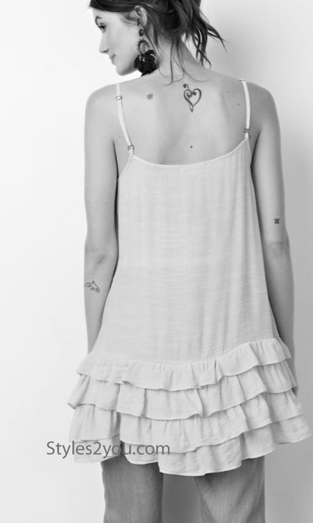 Arcadia Ruffle Layering Cami Shirt Extender Slip In Faded