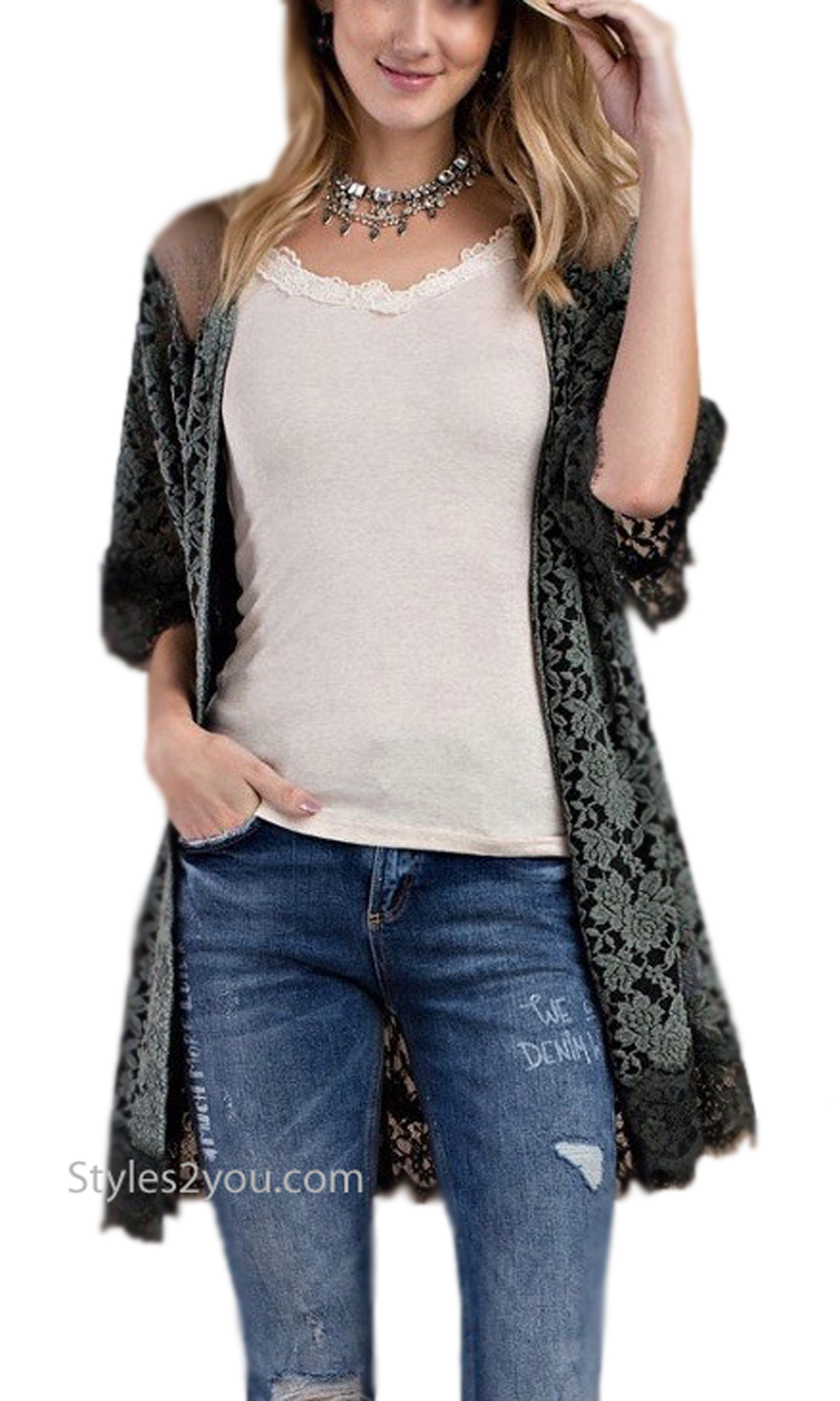 Mink Embroidered Oversized Lace Open Cardigan In Greens Easel ...