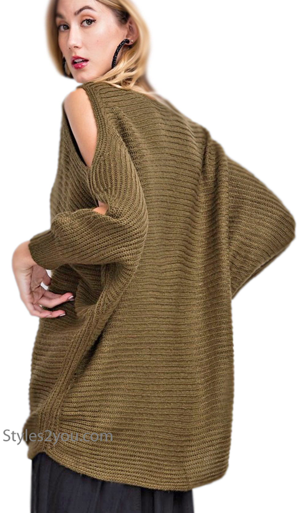 Judith Dolman Sleeve Oversized Chunky Knit Sweater In Olive ...