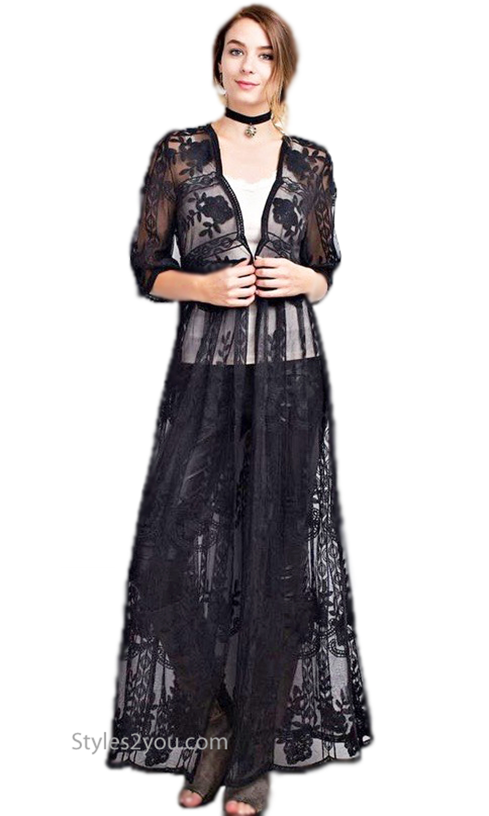 Hollister Ladies Crochet Lace Maxi Duster Cardigan In