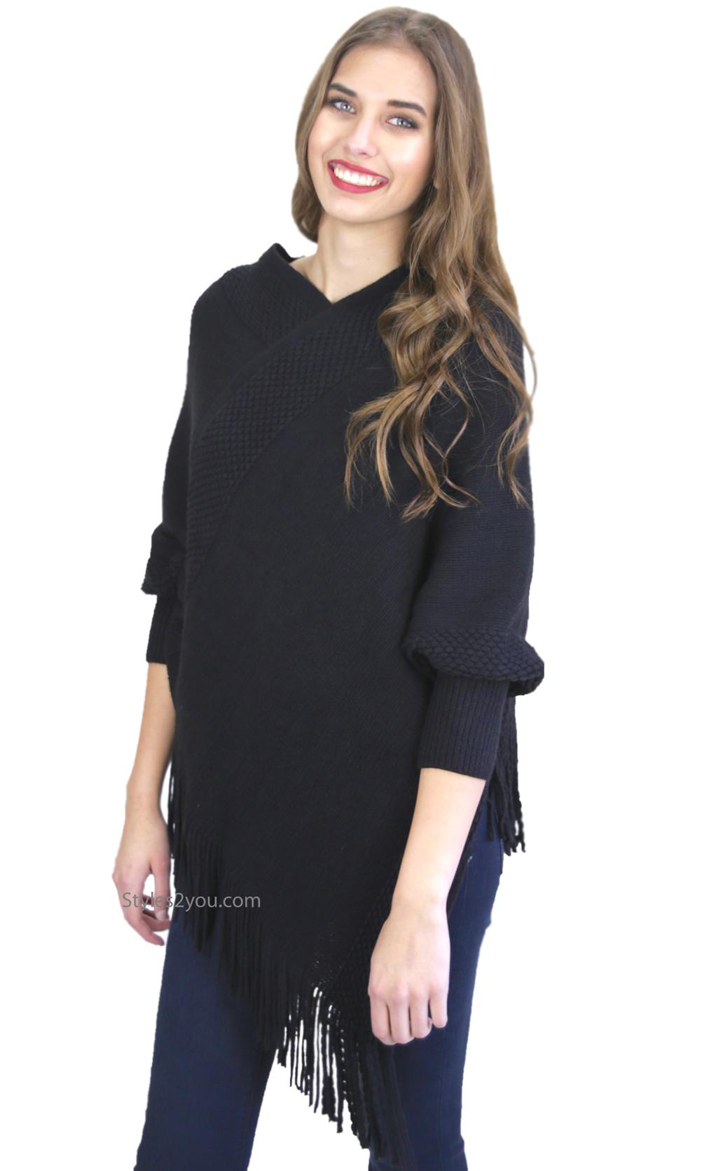 Nora Fringe Hem Cape Sweater With Sleeves In Black K4711