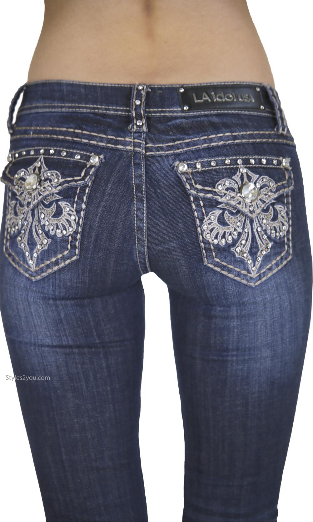 Ladies Rhinestone Embroidered Bootcut Denim Jeans La Idol
