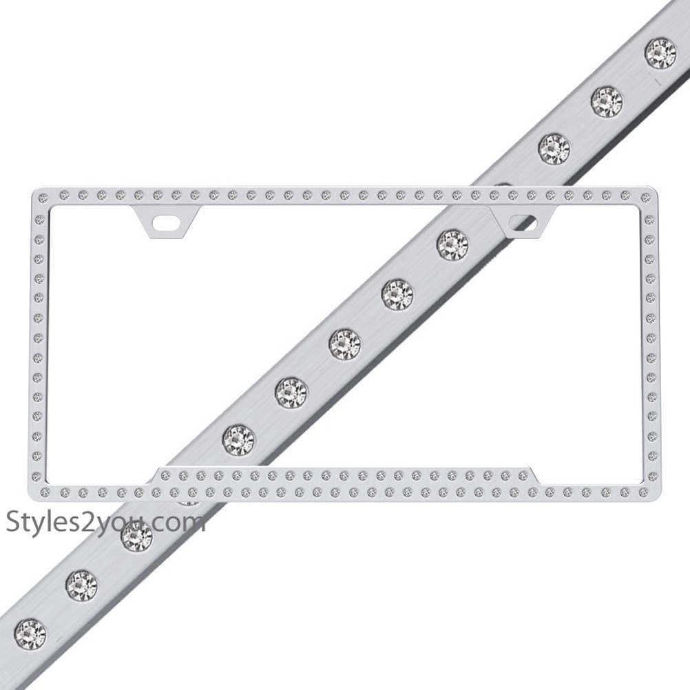 Ice Polished Chrome Swarovski Crystal License Plate Frame 125 ...