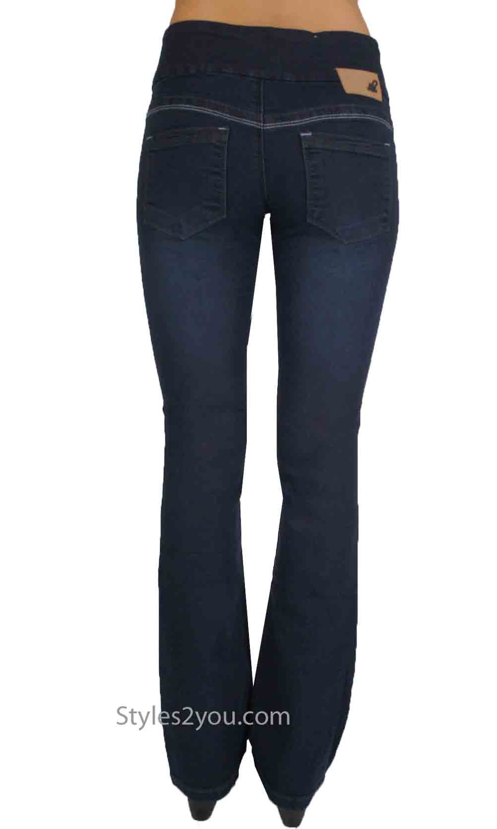 Lola Jeans Leah Bootcut Pull On Denim Jeans Midnight Blue