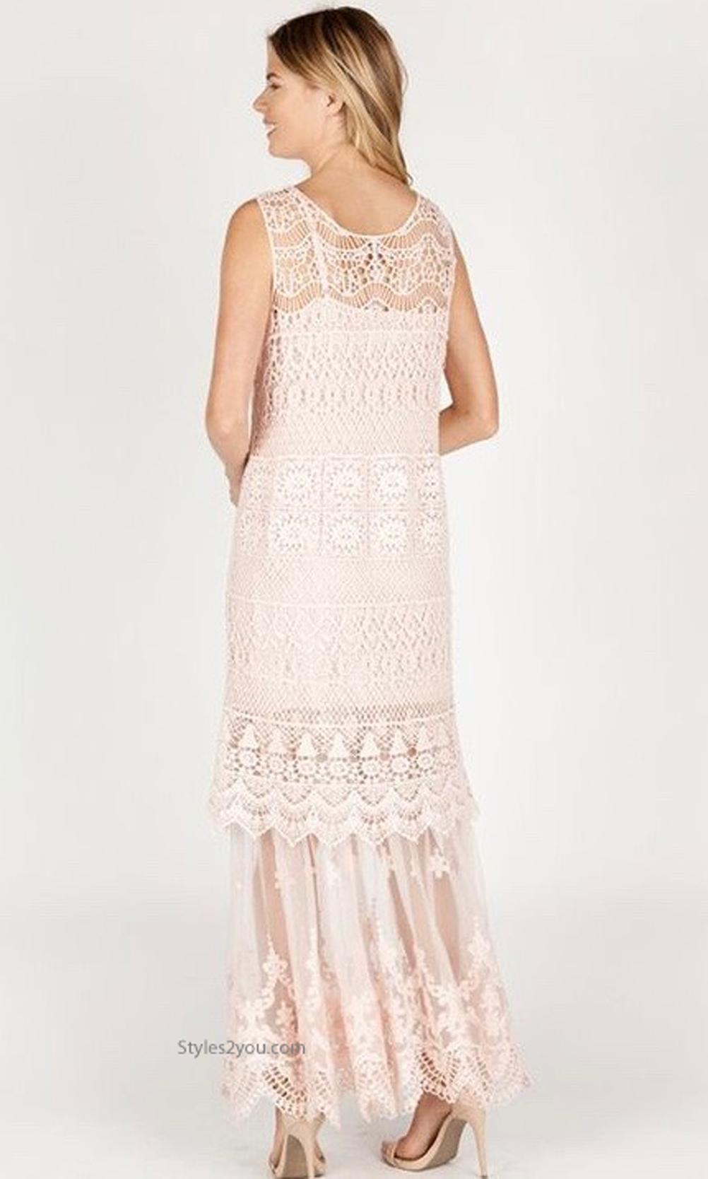 71e7b79b09a Biltmore Two Piece Crochet   Lace Maxi Dress Pale Pink Monoreno ...