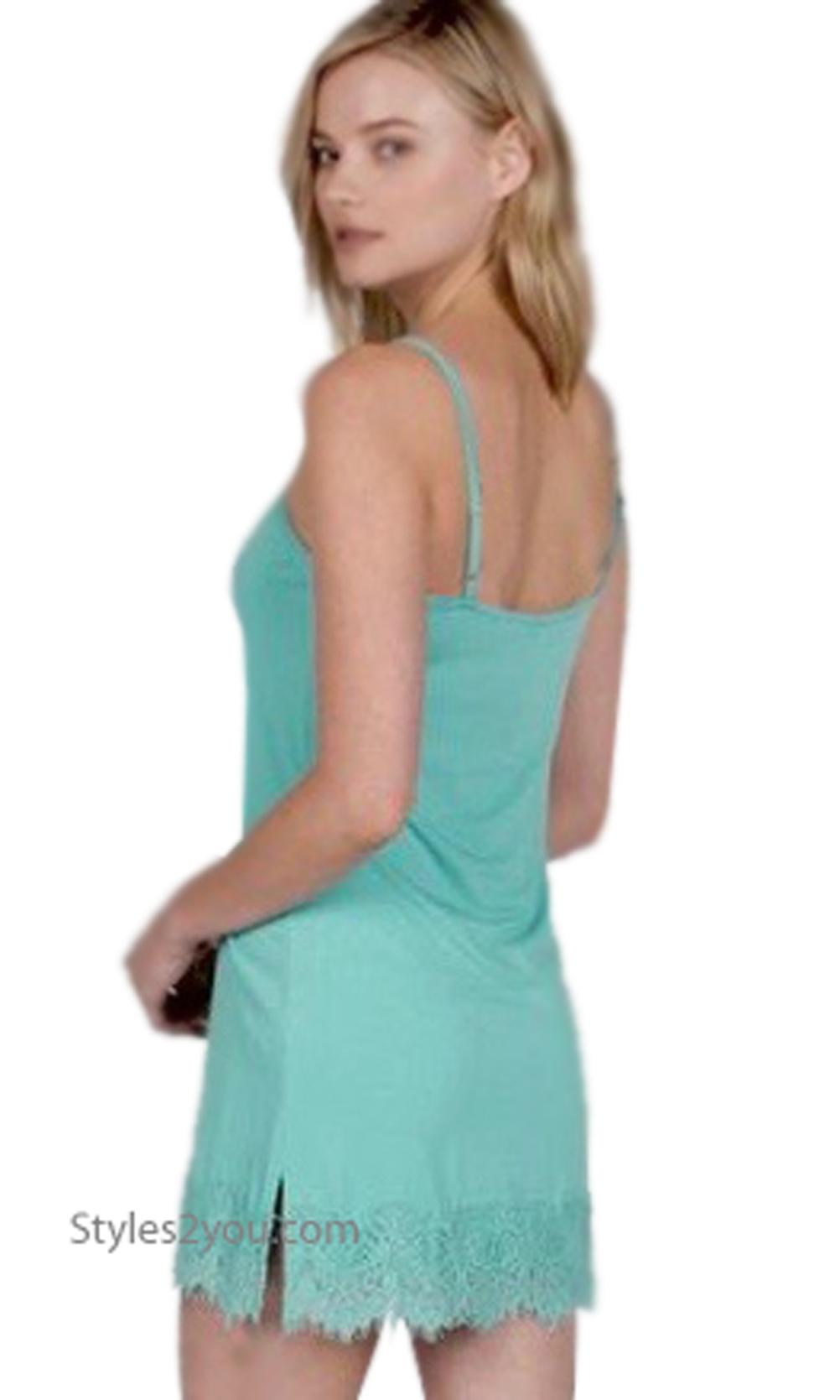 3b3cef7aa825e Renton Shirt Extender Slip Dress Cami With Eyelash Trim Sea Blue · «