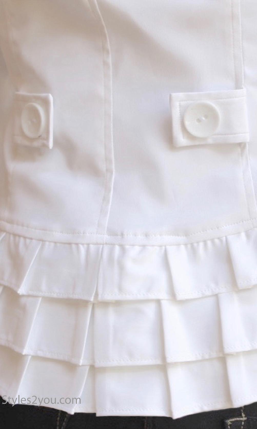 Italia Vecceli Italy Collection Jacket With Ruffles In White Vecceli