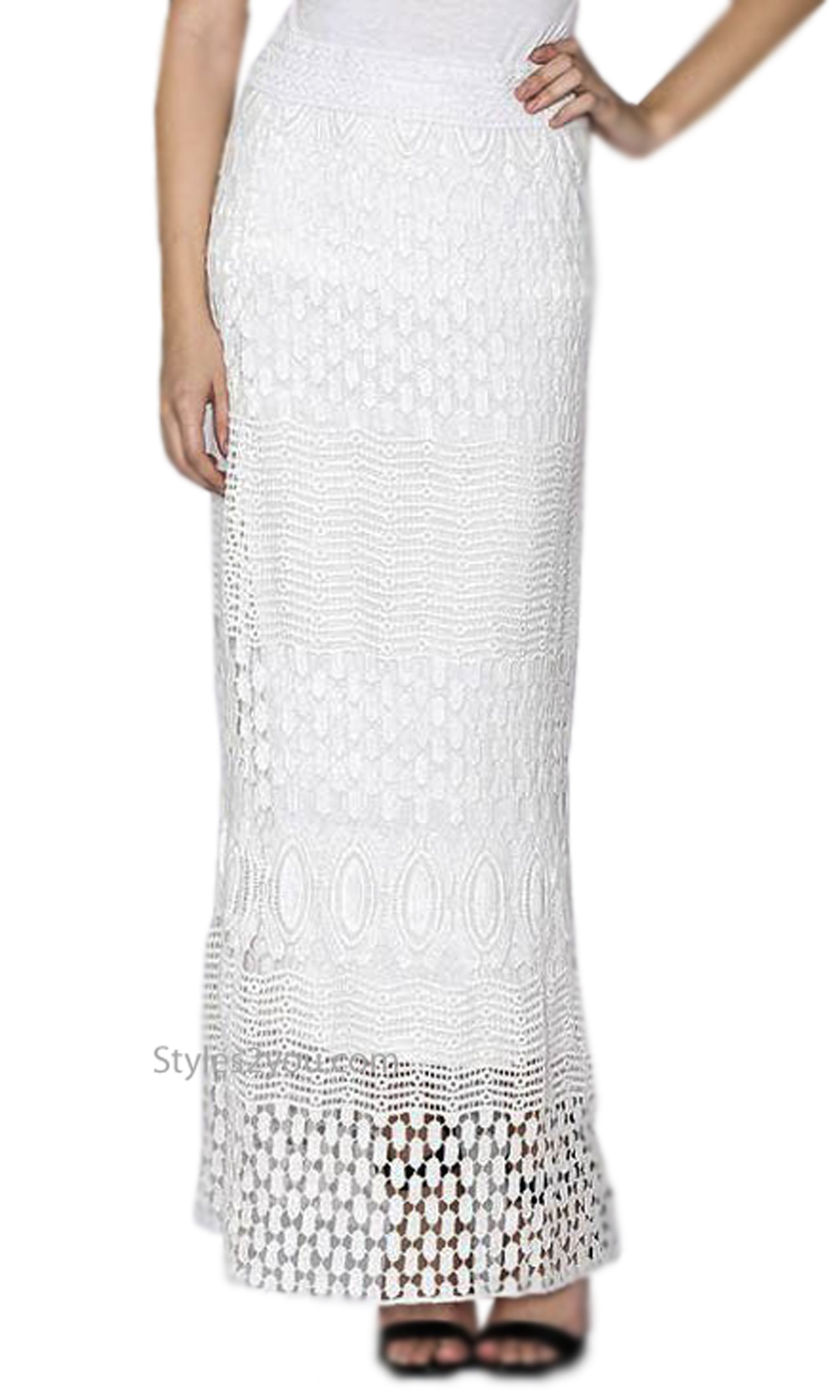 price remains stable free delivery novel style Josie Ladies Cotton Crochet Maxi Skirt Or Dress In Off White