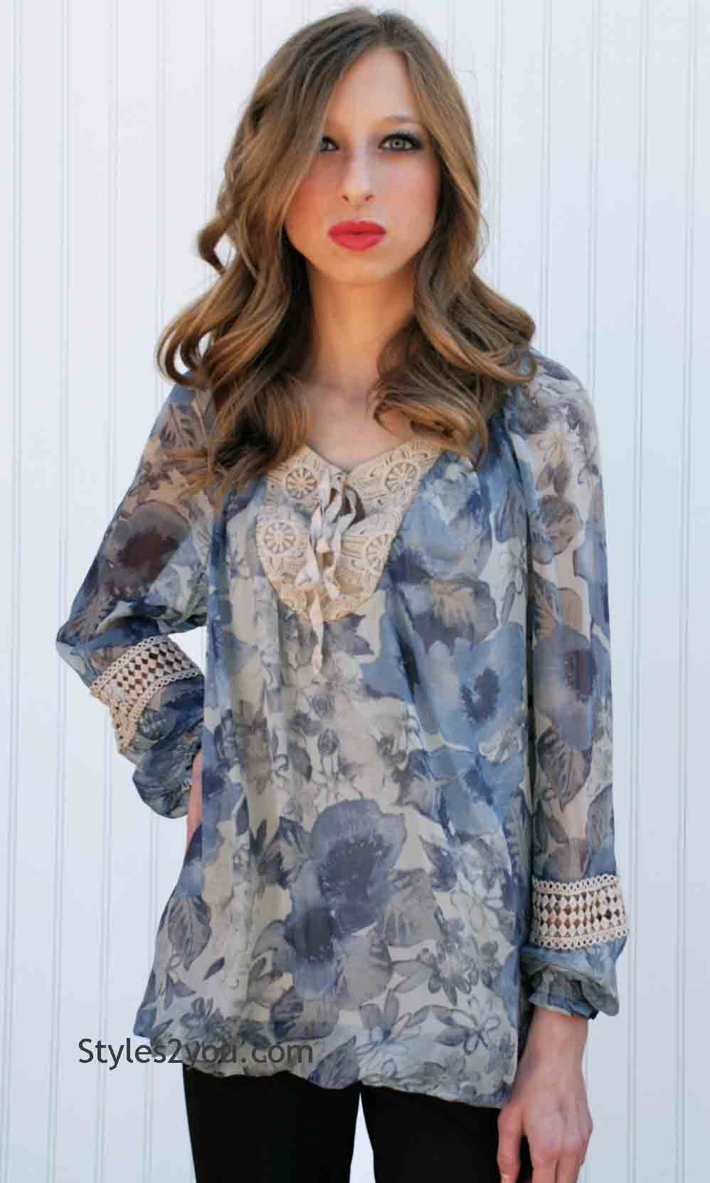 099cf18a1234a Lila Ladies Silk Blouse In Floral And Cream  Micky Lila Ladies Silk Blouse   -  59.00
