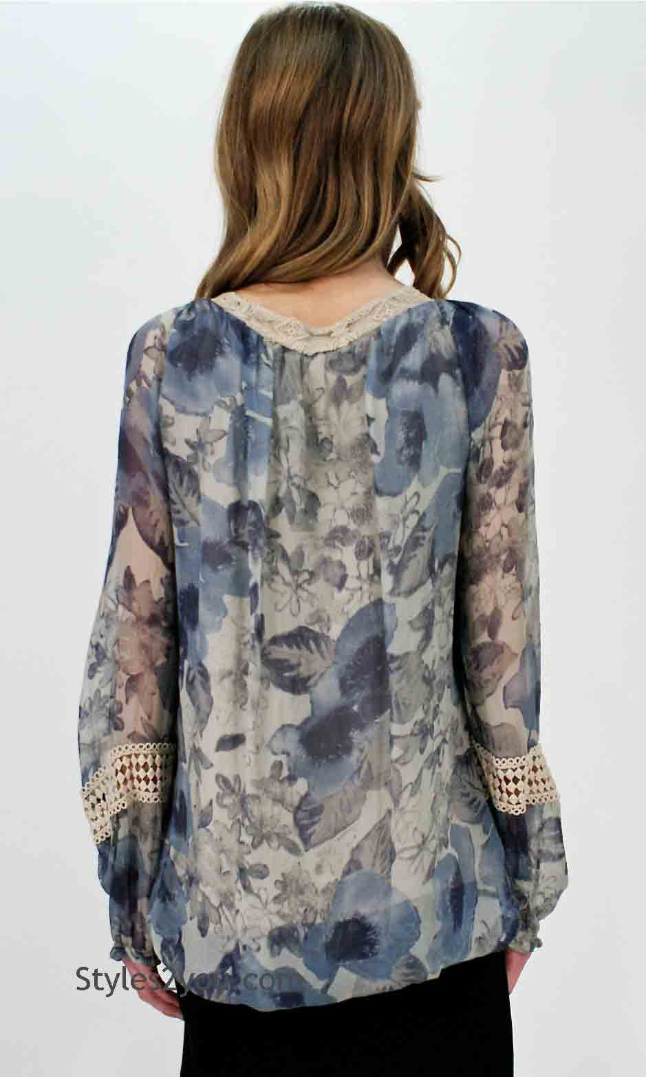 Lila Ladies Silk Blouse In Floral And Cream [Micky Lila Ladies ...