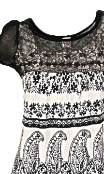 Vishalya Sleeveless Knit & Lace Blouse Black & White Bila Tops