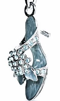 High Heel Keychain With Swarovski Crystals In Blue