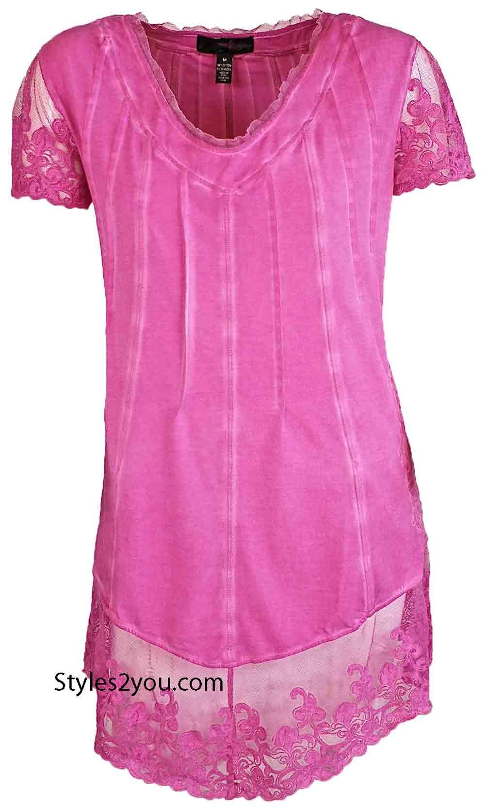 Luella Plus Size Vintage Lace Top In Raspberry Gretty