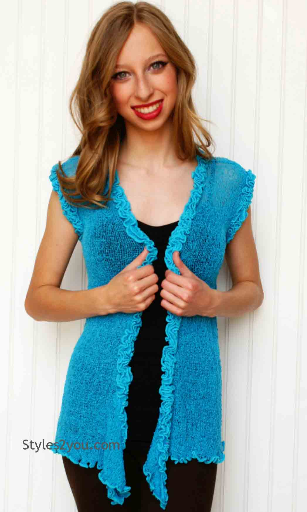 Dora Ladies Crochet Vest In Turquoise Baik Baik Clothing Baik Baik