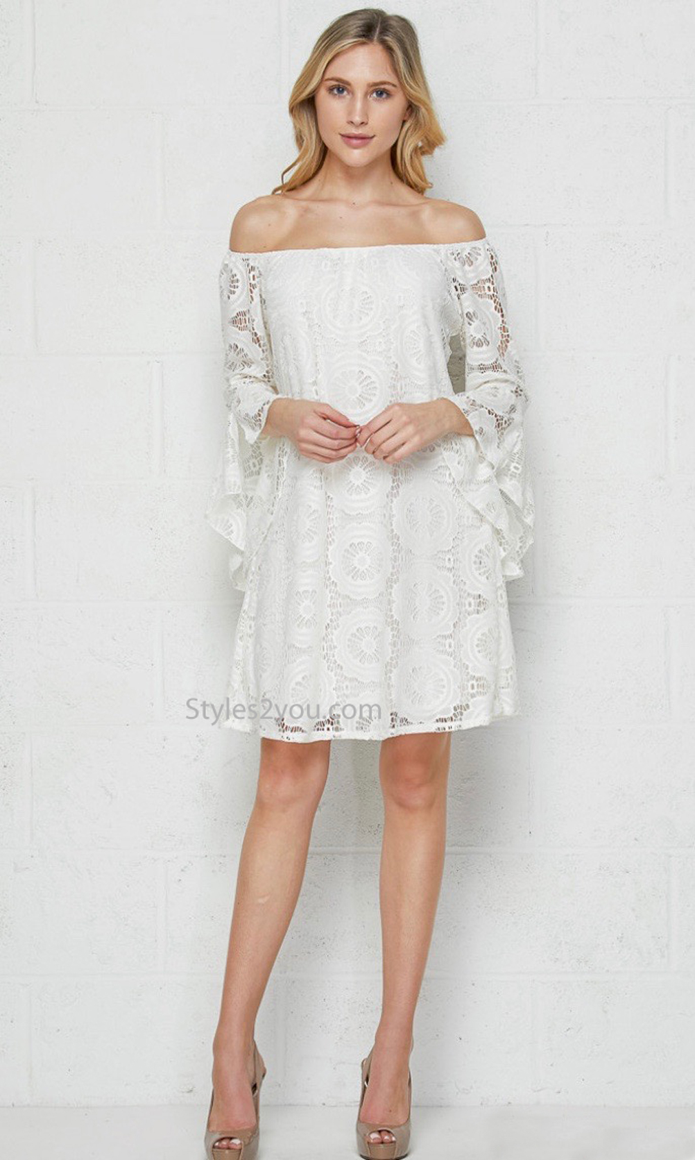 Utah Crochet On or Off The Shoulder Plus Size Ivory Dress Tunic