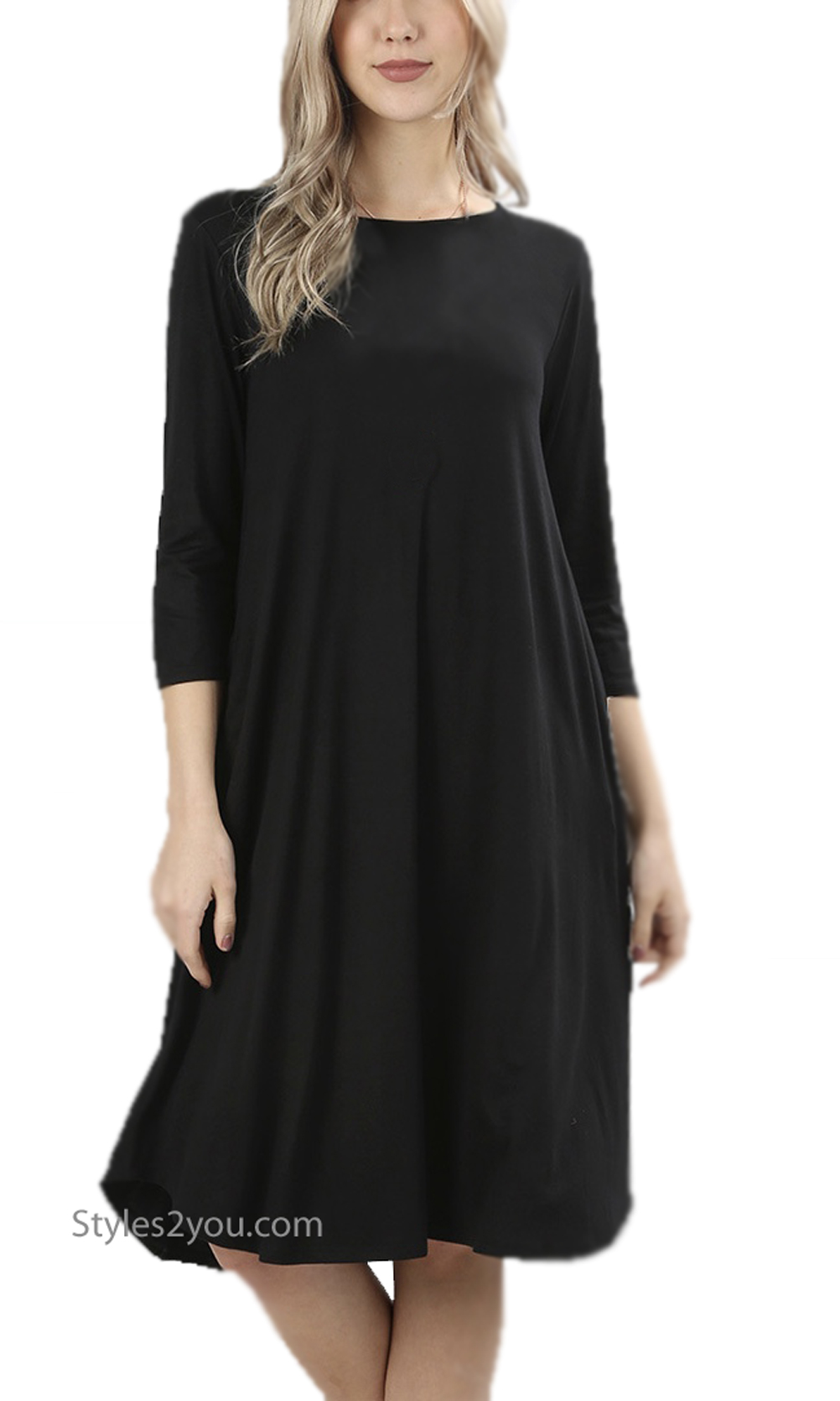 Madison PLUS SIZE 3/4 Sleeve Round Neck With Pockets Dress Black