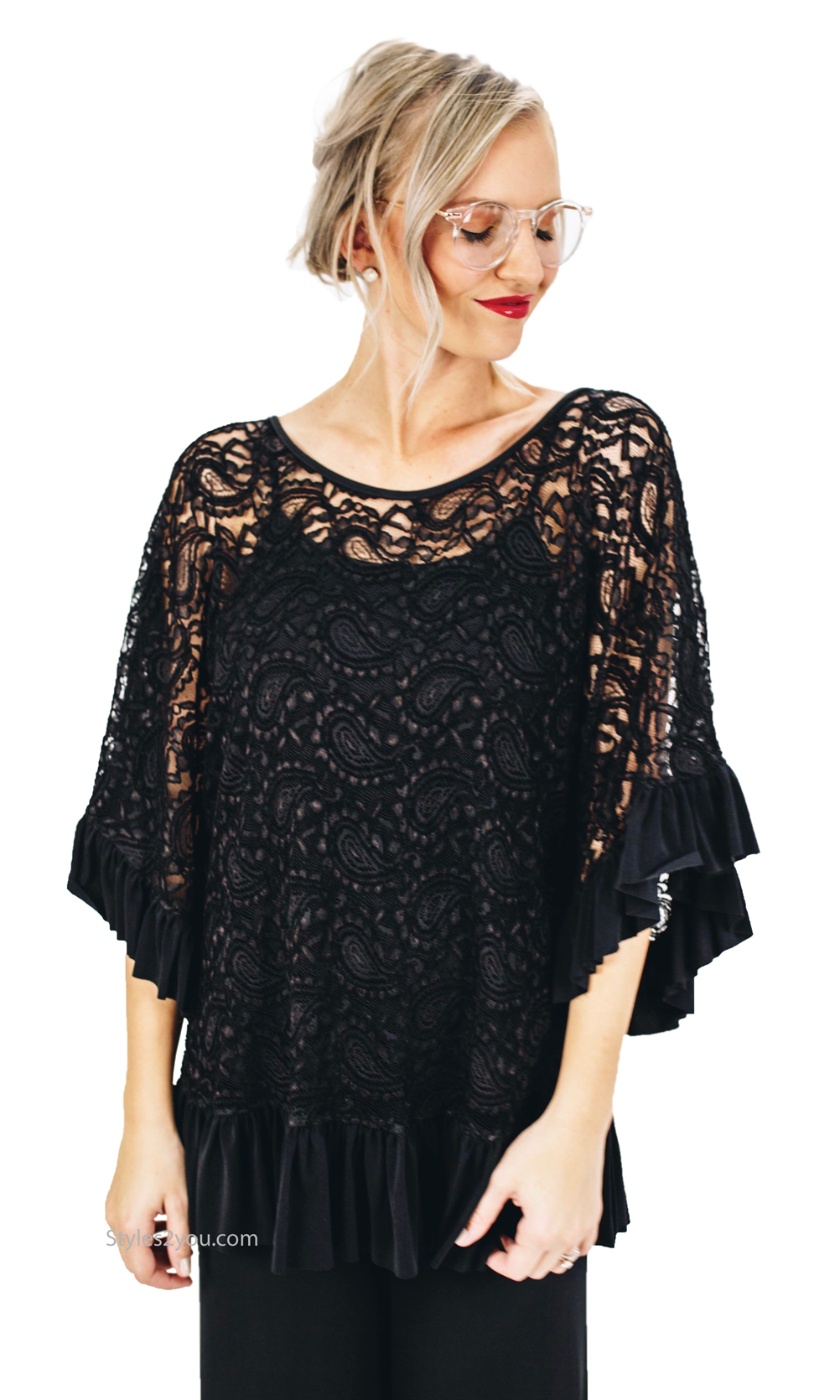 Abilene Ladies Boho Chic All Lace Blouse In Black 8196