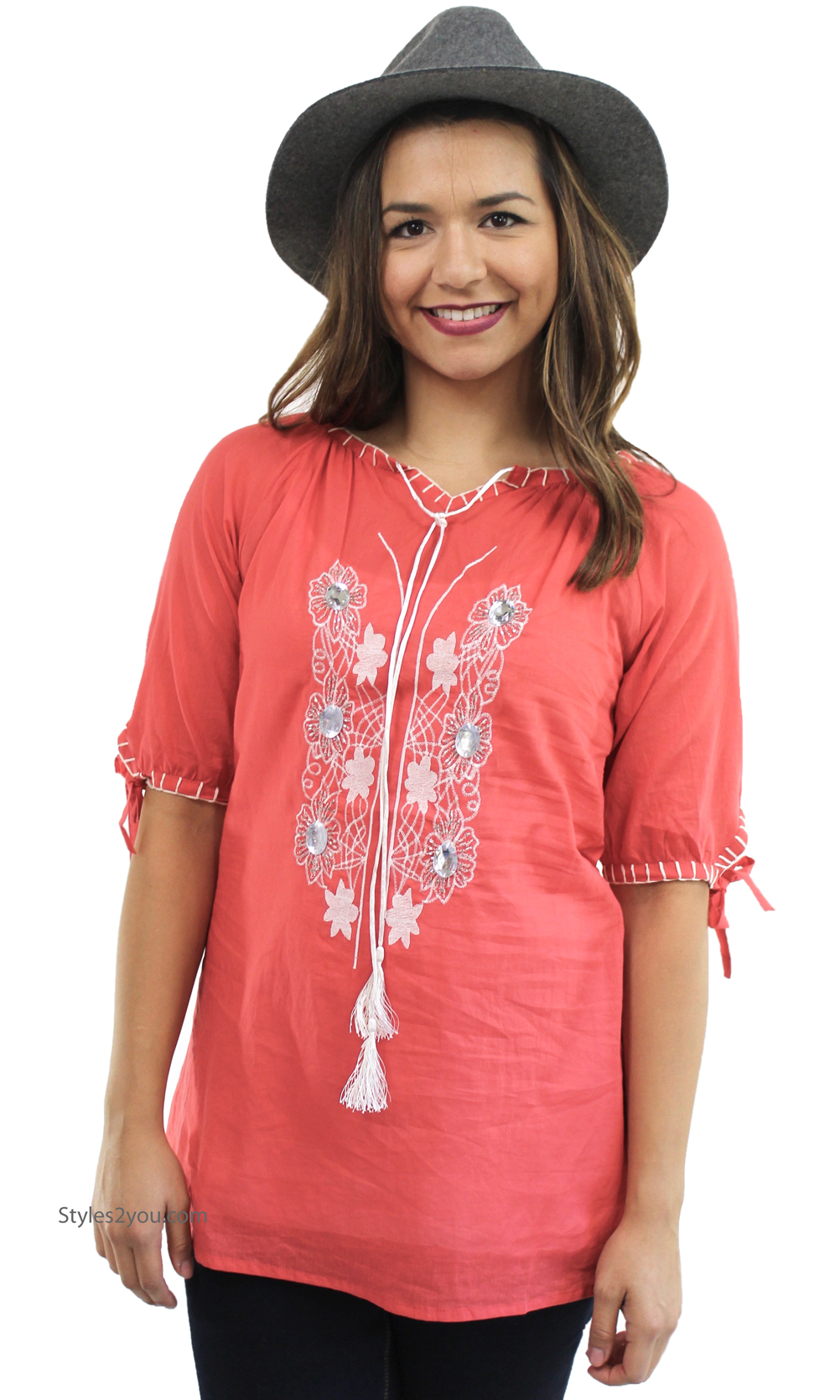 Mala Ladies Embroidered All Cotton Shirt In Coral Ws14129