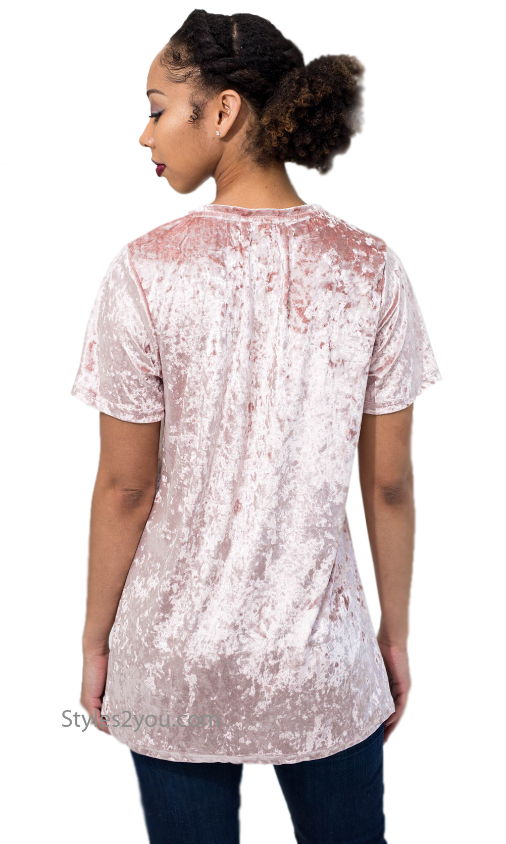 c6744e041 Jen Crushed Velvet Short Sleeve Tee With Deep V-Neck Dusty Pink · «