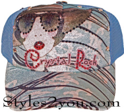 Crystal Rock Cowgirl Baseball Cap With Rhinestones