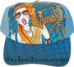 Crystal Rock Rocker Girl Baseball Cap With Rhinestones