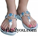 Grandco Sandals Denim Beaded Thong Sandals In White