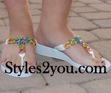 Grandco Sandals Multi Color C Beaded Sandal In White