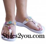 Grandco Sandals Square Marble Beaded Thong In White