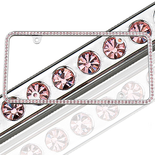 swarovski pink crystal license plate frame 125 license2bling l2b125 pink on polished chrome genuine swarvorski rhinestone crystal license plate frames for